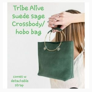 Tribe Alive suede sage Luxe Brass Crossbody bag